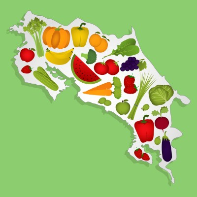Map Of Costa Rica With Fruits