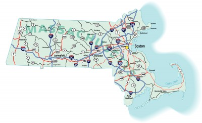 Massachusetts state road map with Interstates, U.S. Highways and state roads. All elements on separate layers for easy editing.