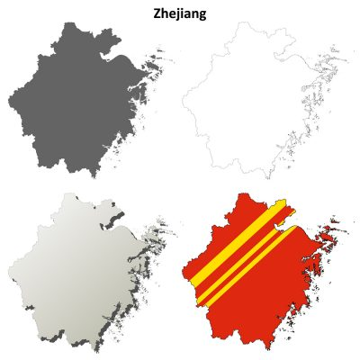 Zhejiang province blank detailed outline map set